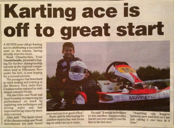 Accrington Observer 30th Aug 13 - Kart ace is off to great start!